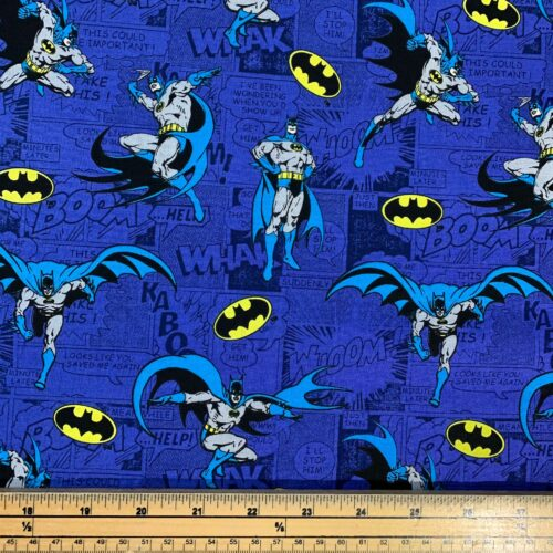 Batman Comic Blue Cotton Fabric - Fat Quarter