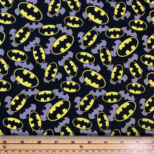 Batman Logo Overlay Cotton Fabric - Fat Quarter