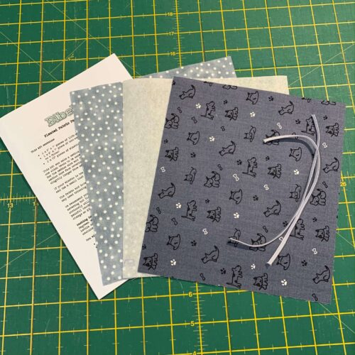 Pleated Face Covering Kit: Grey Dog Outlines