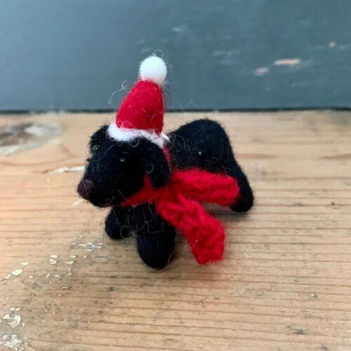 Felt Mini Black Labrador Dog with Hat & Scarf Christmas Decoration