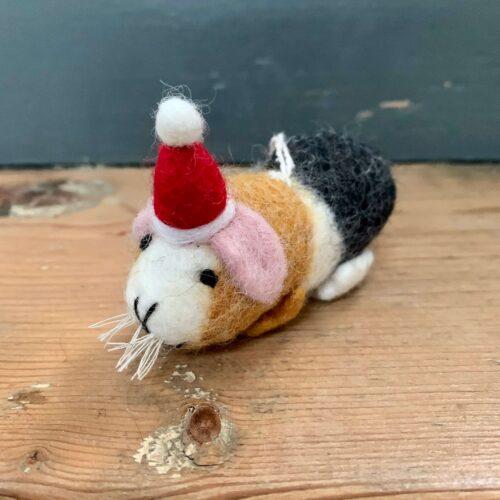 Felt Guinea Pig with Hat Christmas Decoration