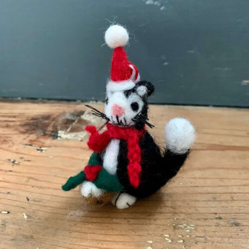 Felt Mini Black Cat with Pudding Christmas Decoration