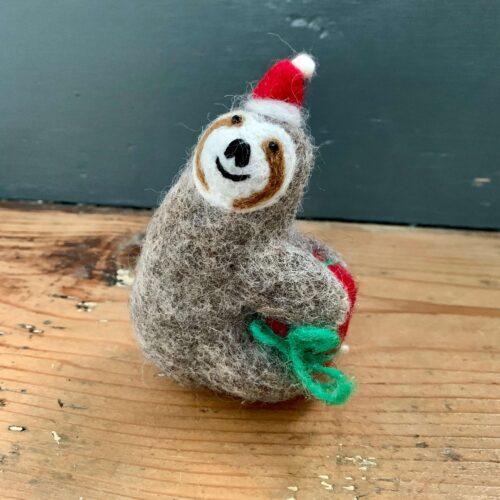 Felt Sloth with Present Christmas Decoration