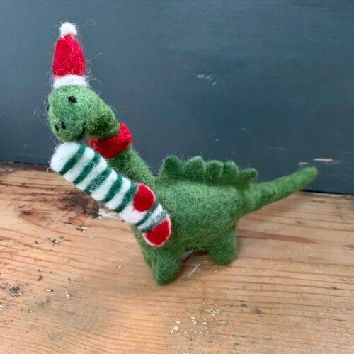 Felt Diplodocus Dinosaur with Stocking Christmas Decoration