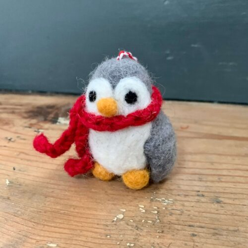 Felt Small Grey Penguin with Hat & Scarf Christmas Decoration