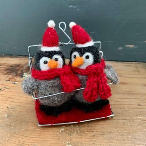 Felt Baby Penguins in Ski Chair Lift Christmas Decoration