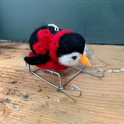 Felt Mini Black Penguin on Sledge Christmas Decoration