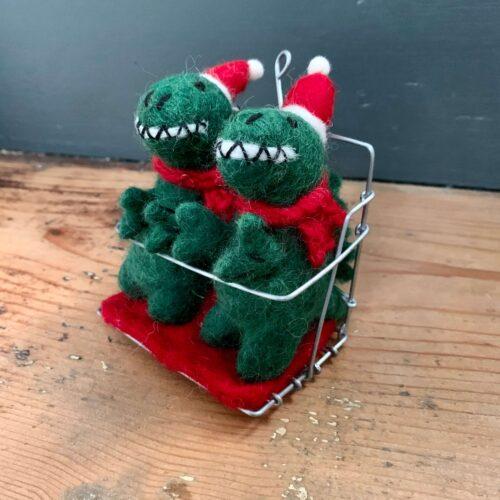 Felt T-Rex Dinosaurs in Ski Chair Lift Christmas Decoration