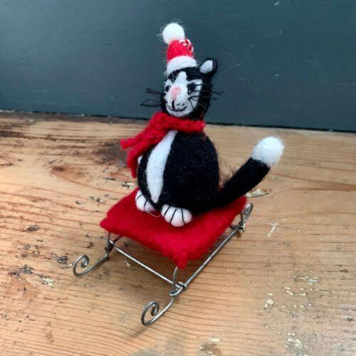 Felt Mini Black Cat on Sledge Christmas Decoration