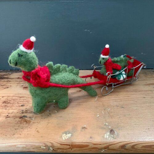 Felt Diplodocus Dinosaurs with Presents on a Sleigh Christmas Decoration