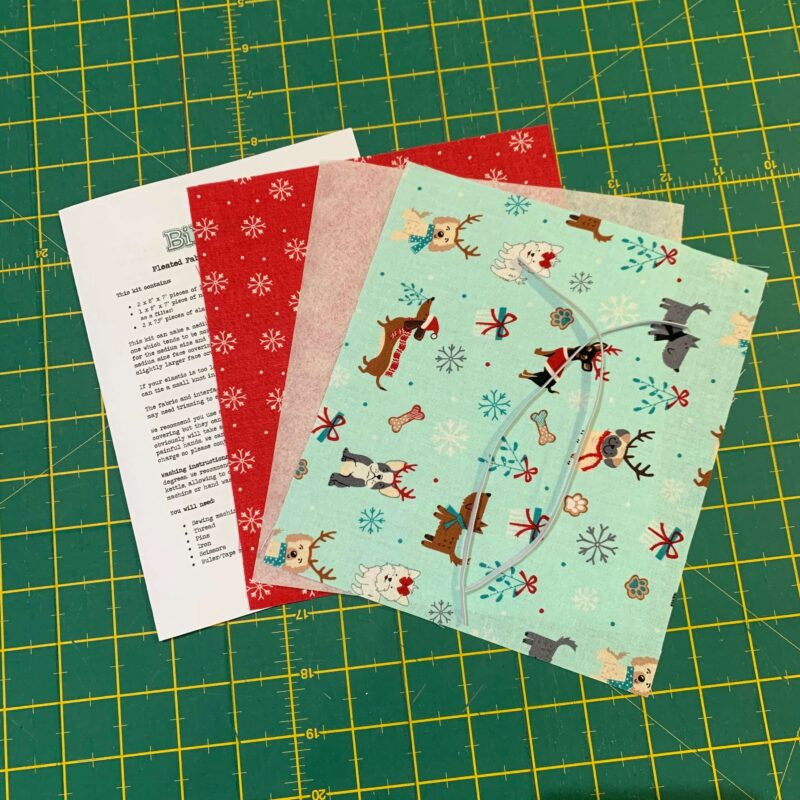 Pleated Face Covering Kit: Christmas Dogs Mint & Snowflakes