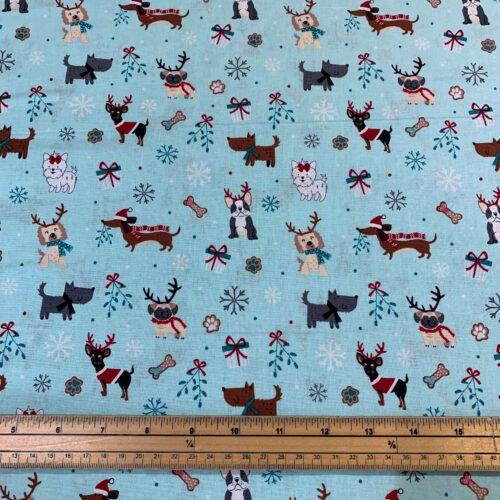 Christmas Dogs Mint Cotton Fabric - Fat Quarter