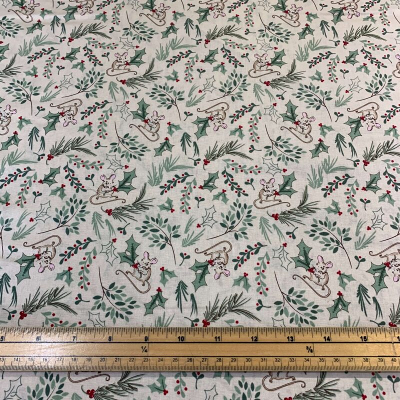 Christmas A Christmas Tail Holly & Mice Cotton Fabric - Fat Quarter