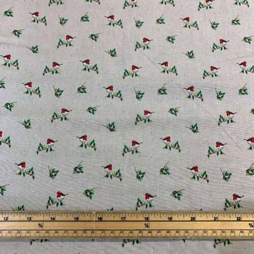 Christmas Robins Cotton Fabric - Fat Quarter