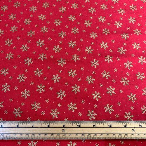 Christmas Metallic Snowflakes Cotton Fabric - Fat Quarter