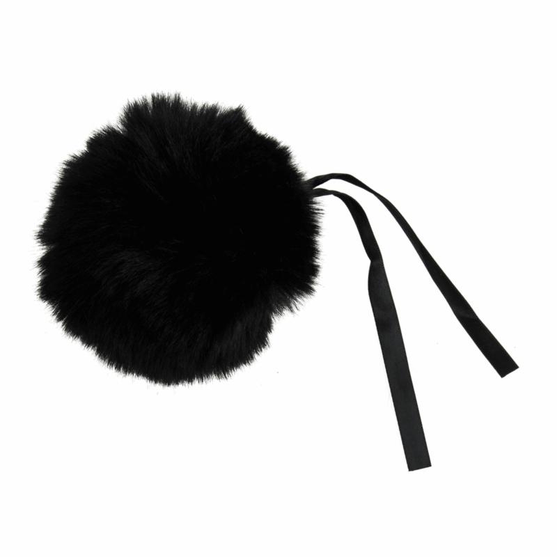 Faux Fur Black Pom Pom