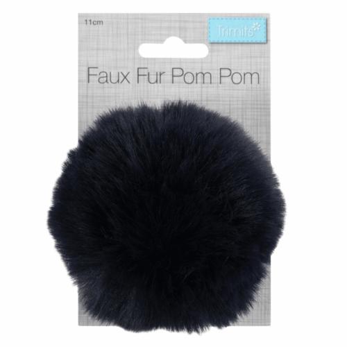 Faux Fur Navy Pom Pom