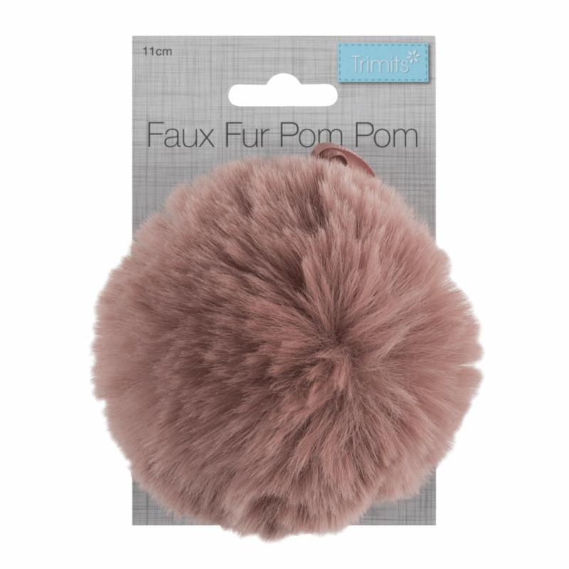 Faux Fur Dark Pink Pom Pom