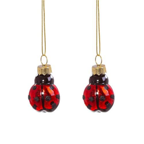 Ladybird Shaped Mini Baubles Christmas Decoration - Set of 2