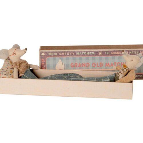 Maileg Grandma & Grandpa Mice in Matchbox