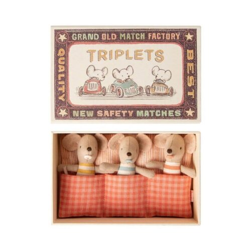 Maileg Baby Mice: Triplets in Matchbox