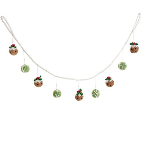 Felt Sprout & Pudding Garland Christmas Decoration
