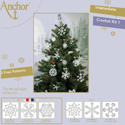 Crochet Kit: Snowflakes 1 White/Gold