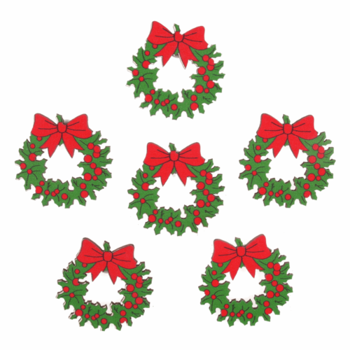 Craft Embellishment: Holly Wreaths: 6 Pieces