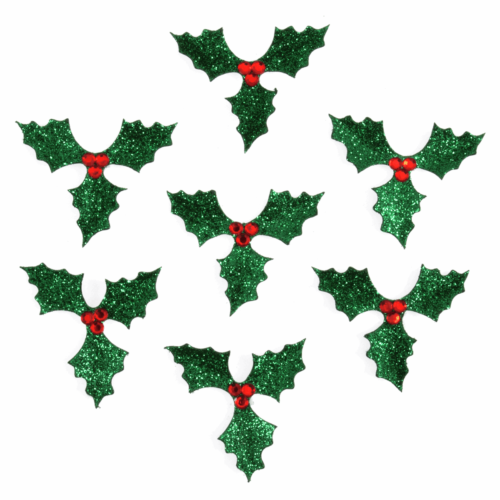 Craft Embellishment: Glitter Holly: 7 Pieces