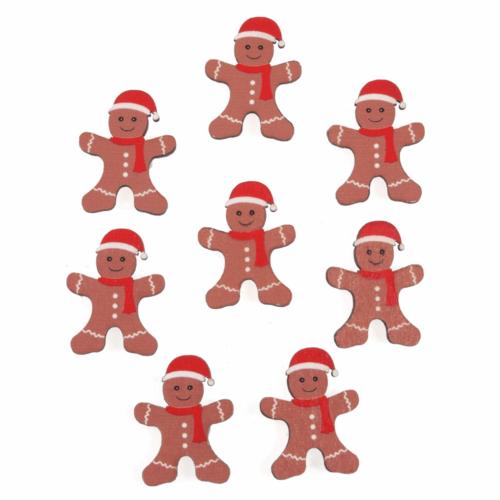 Craft Embellishment: Gingerbread Man in Santa Hat: 8 Pieces