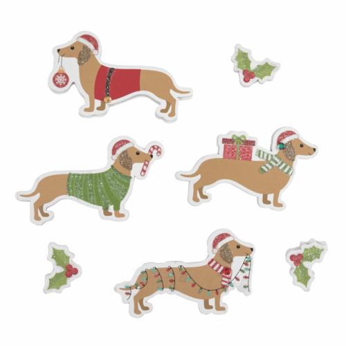 Craft Embellishment: Festive Dachshund: 7 Pieces