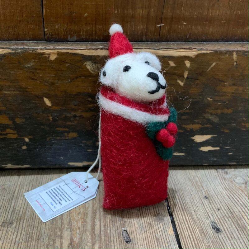 Felt Swaddling Puppy: Dalmatian Christmas Decoration