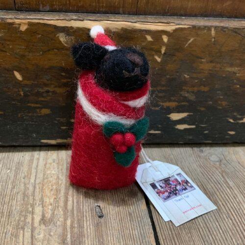 Felt Swaddling Puppy: Black Labrador Christmas Decoration