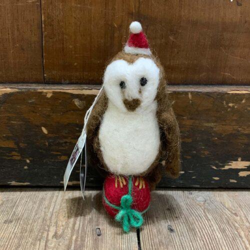 Felt Barn Owl Christmas Decoration