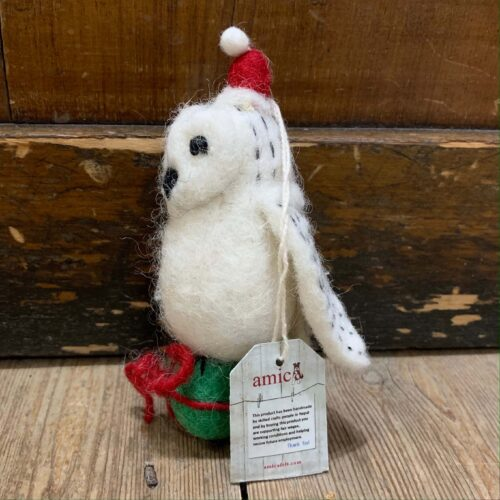 Felt Snowy Owl Christmas Decoration