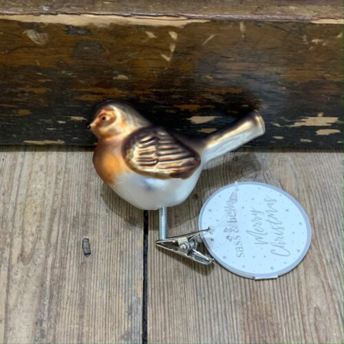 Clip On Robin Shaped Bauble Christmas Decoration