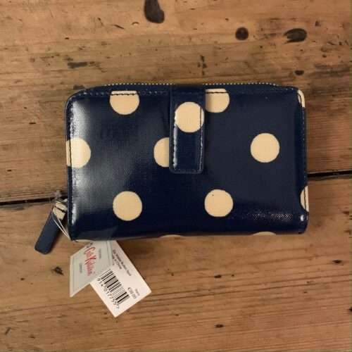 Cath Kidston Button Spot Navy Folded Zip Wallet