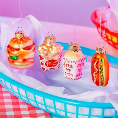 Mini Fun Fast Food Bauble Set Christmas Decorations