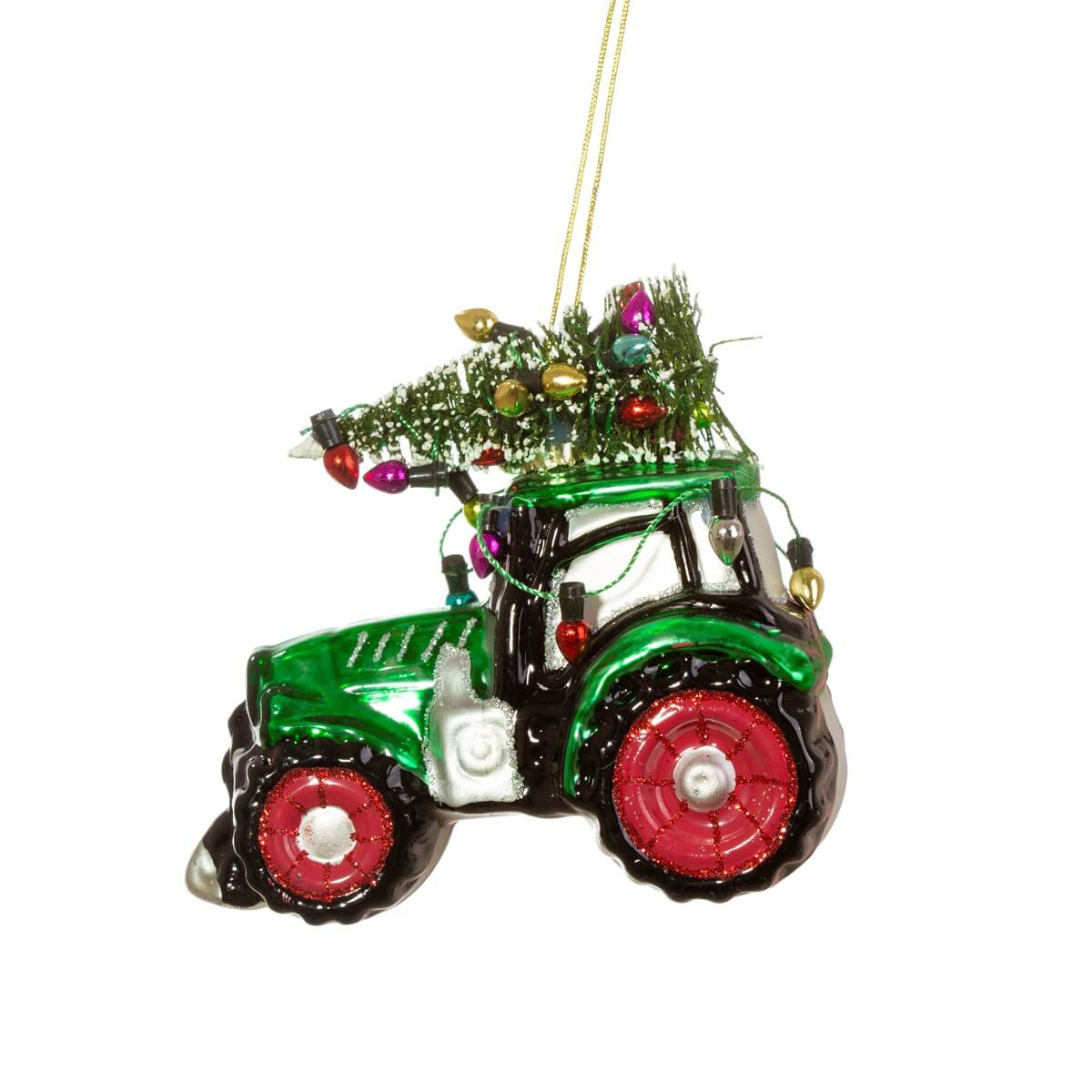Festive Tractor Shaped Bauble Christmas Decoration