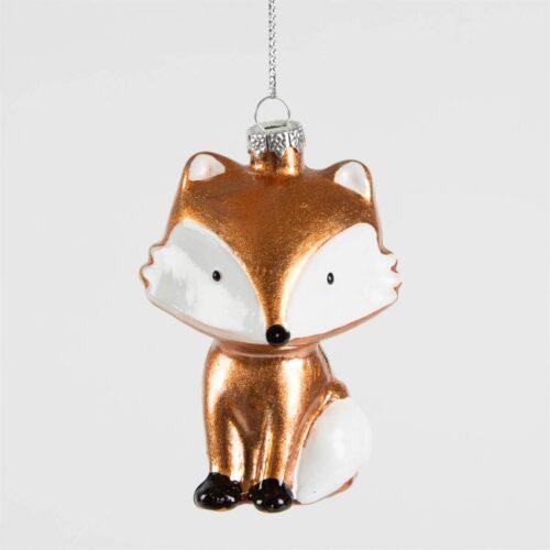 Metallic Fox Shaped Bauble Christmas Decoration