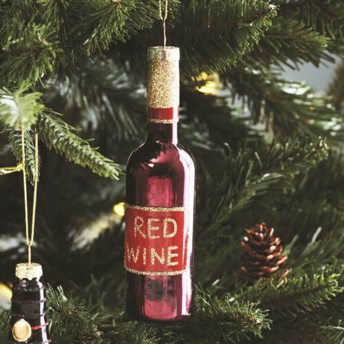 Lets Celebrate Red Wine Bottle Bauble Christmas Decoration