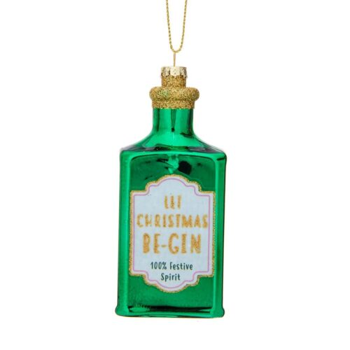 Let Christmas Be-Gin Shaped Bauble Christmas Decoration