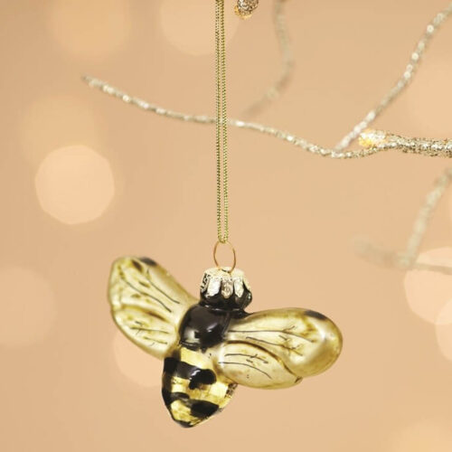 Golden Bee Shaped Bauble Christmas Decoration