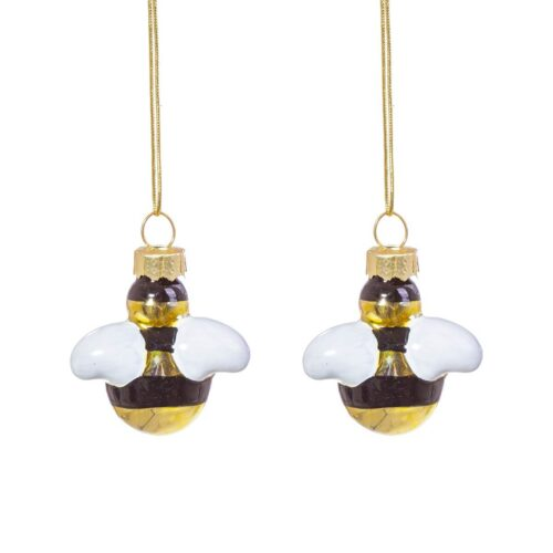 Bee Shaped Mini Baubles Christmas Decoration - Set of 2