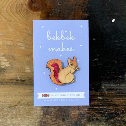 Bekbek Makes Red Squirrel Brooch
