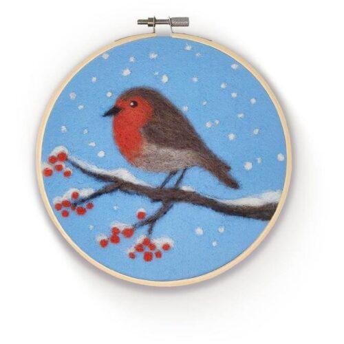 Robin in a Hoop Needle Felting Kit