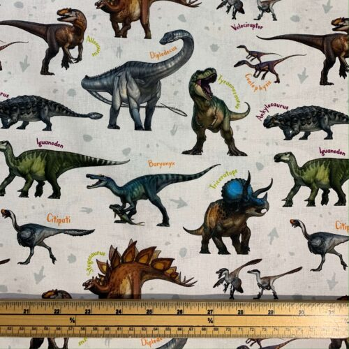 Age of the Dinosaur Cotton Fabric: Species - £9 per metre