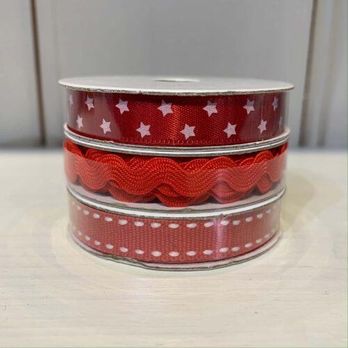 Ribbon Pack: Red Grosgrain/Star/Ric Rac