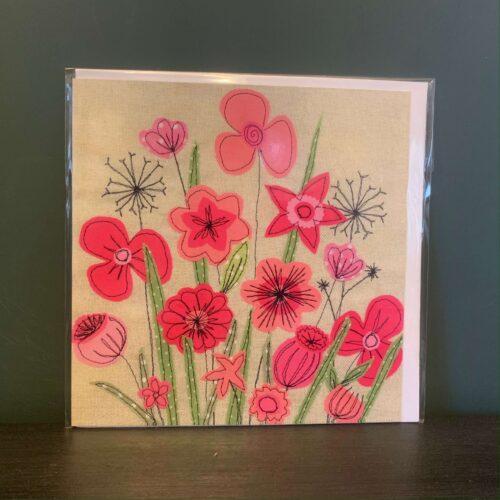 Pink Flowers Greetings Card