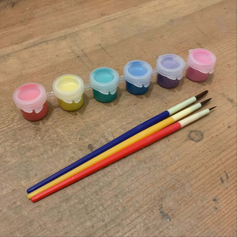 6 x Mini Pearlised Acrylic Paint Pots with 3 x Paint Brushes